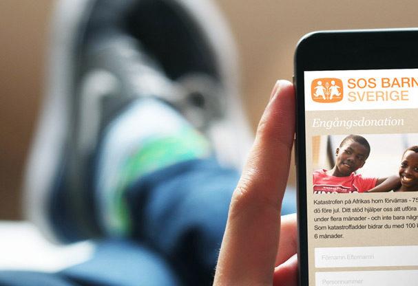 SOS Barnbyar webbplats - mobil vy
