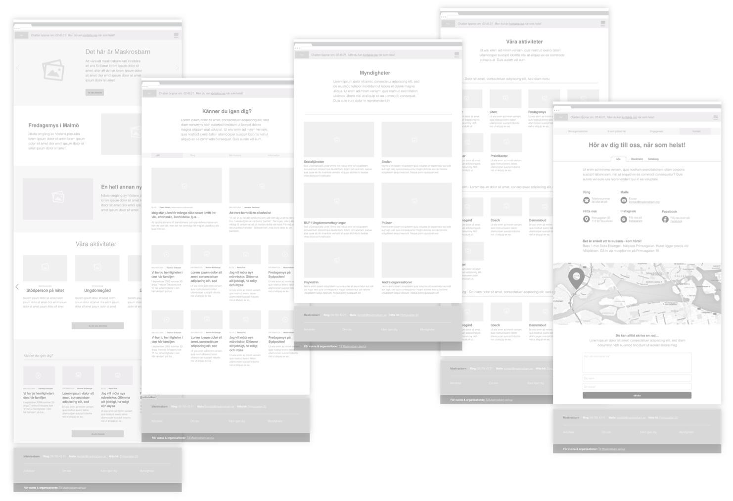 Maskrosbarn - webbplats - användargränssnitt
