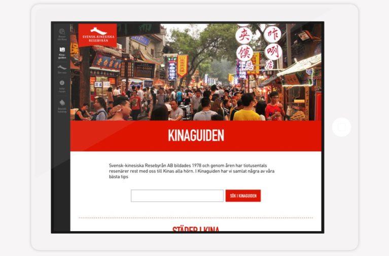 Svensk Kinesiska Resebyrån - webbplats ipad