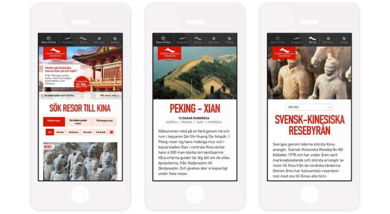 Svensk Kinesiska Resebyrån - webbplats, mobilvy